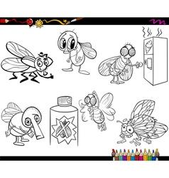 flies set cartoon coloring page vector image