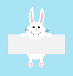 Funny white rabbit hare hanging on paper board vector