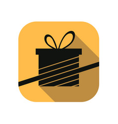 gift box flat icon with long shadow black friday vector image