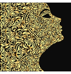 girls face from the golden floral vector image