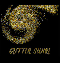 golden glitter swirl on dark template vector image