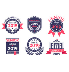 graduate senior school badge graduation day vector image