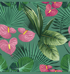 green tropical leaves and flowers seamless pattern vector image