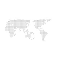 Grey halftone dotted world map vector