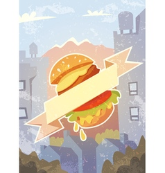 Grungy background with burger and ribbon vector