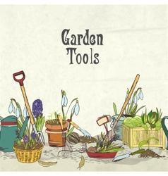 Hand drawn gardening tools album cover vector