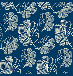 Hand drawn seamless pattern with abstract leaves vector
