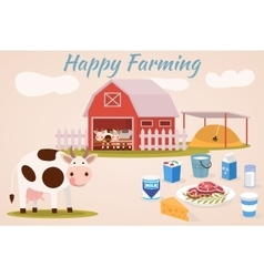 Happy farmin Cow farm Dairy cattle vector