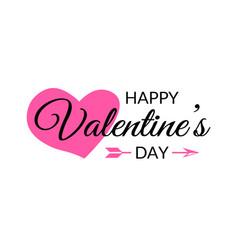 happy valentines day calligraphy typographic vector image