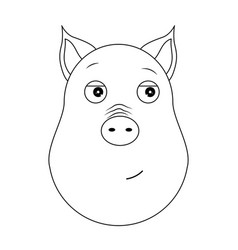 head of trusting pig in outline style kawaii vector image