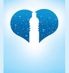 Heart with water drops and shape of bottle vector