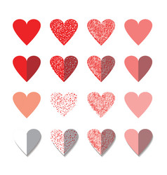 Icon set of red hearts shape vector