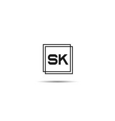 initial letter sk logo template design vector image