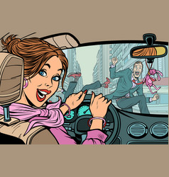 Joyful woman driver accident on road with vector