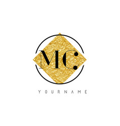 Mc letter logo with golden foil texture vector
