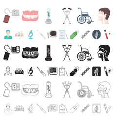 medicine and treatment cartoon icons in set vector image