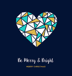Merry christmas gold glitter love greeting card vector