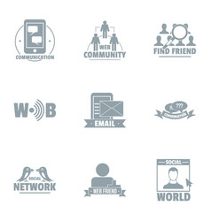meshwork logo set simple style vector image