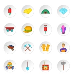 Mining icons set cartoon style vector