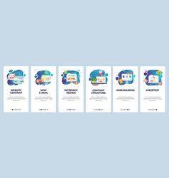 mobile app onboarding screens design content and vector image