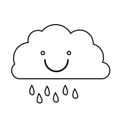Monochrome contour of smiling cloud with drizzle vector
