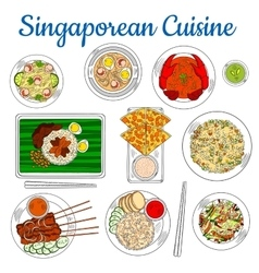 National dishes of singaporean cuisine sketch icon vector