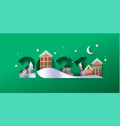 new year 2021 papercut gingerbread winter house vector image