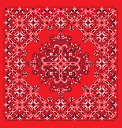 Ornament paisley bandana print silk neck vector
