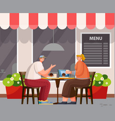 People have lunch outdoor cafeteria exterior vector