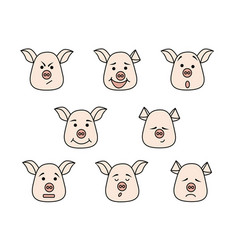 pig head with different emotions meme icon vector image
