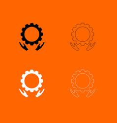 Preventative maintenance black and white set icon vector
