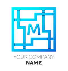 Realistic letter m logo in colorful square maze vector