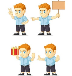 Red Head Boy Customizable Mascot 15 vector image
