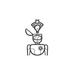 Robotic arm putting idea bulb into head hand drawn vector