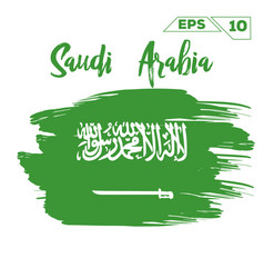 Saudi arabia flag brush strokes painted vector