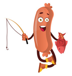 sausage with fishing rod on white background vector image