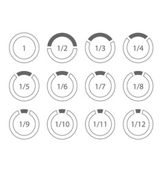 Set of arithmetic fractions segmented ring design vector