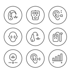 Set round line icons of hearing aid vector