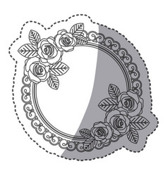 Silhouette round emblem with oval roses icon vector