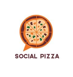 social pizza design template vector image