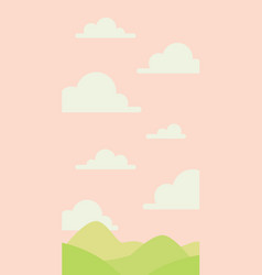 soft nature landscape with pink sky green hills vector image