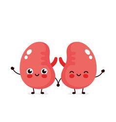 Strong cute healthy happy kidneys vector