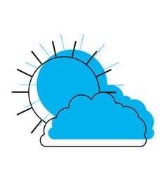 sun and cloud in blue watercolor silhouette vector image