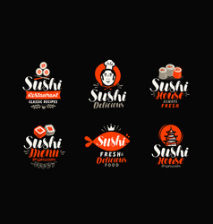 Sushi logo or label japanese food seafood vector