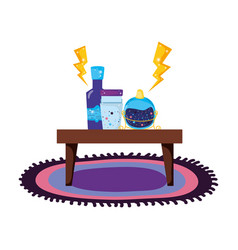 table wooden with potion bottles vector image