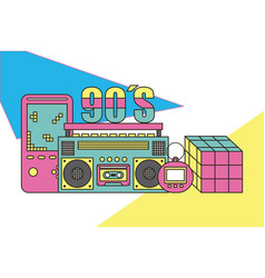 Tape recorder cube rubik video game tamagotchi 90s vector