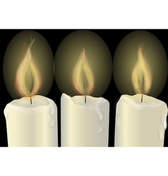 Three burning candles vector