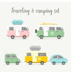 Transport caravan set types of trailers vector