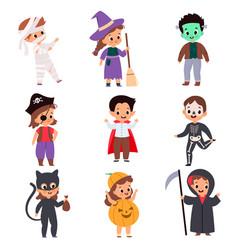 trick or treating kids cartoon boys vector image