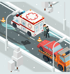 urban accident crash cars winter warning on road vector image